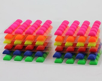 8mm Stick on Assorted Neon Colors Self Adhesive High Pyramid Gems Stickers Pack - 240 Pieces
