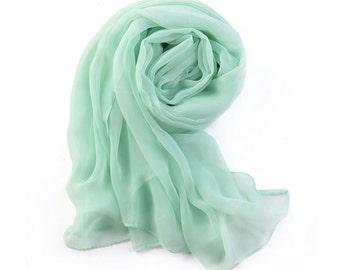 Mint Green Chiffon Scarf - Pale Green Chiffon Scarf - 30D58