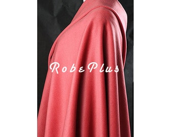 Wool Cashmere Blend Fabric - Extra Soft Wool Blend Fabric -Hot pink Wool Fabric - Coral Wool Fabric - Coral red Wool Fabric -W12