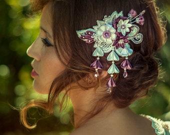 Phoebe  Ivory & Wisteria Bridal Headpiece comb Silk Flowers Swarovski Crystals Hair Jewelry unique alternative