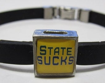 Michigan State Sucks College Link With Choice Of Colored Band Charm Bracelet