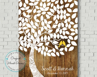 Unique Wedding Guest Book - Bridal Gift Alternative Guestbook Wedding Poster Wedding Tree Guestbook Print Guestbook Poster Wood Wedding Sign