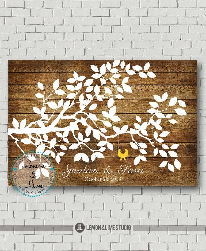 Custom Guest Book Rustic Wedding Tree Wedding Guest Book