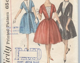 1960s  Dress Pattern Simplicity 4223 Full Skirt Party Dress Low Neckline Vintage Womens Sewing Patterns Size 10