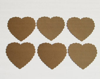 Set of Craft Paper color Scallop Hearts die cuts /  card-stock paper/ size 2 3/4 inch