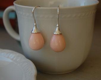 Peach drop earrings