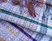 "Handwoven rag rug 65"" x 26"" repurposed sheets white deep purple dark green golden yellow throw rug fringes #62"