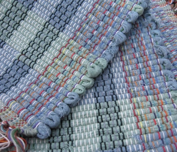 Sage Light Teal Rag Rug 39 X 26 Hand Woven From By TheRugHag
