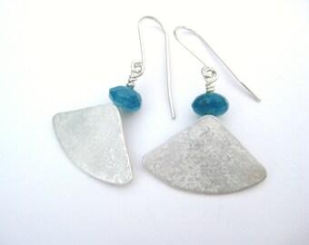 Blue Quartz and Silver Segment Earrings