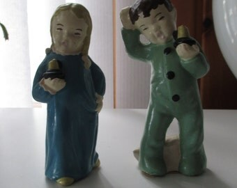 Vintage SLEEPY HEAD CHILDREN pair of hand painted plaster child Sleepy Time figurines