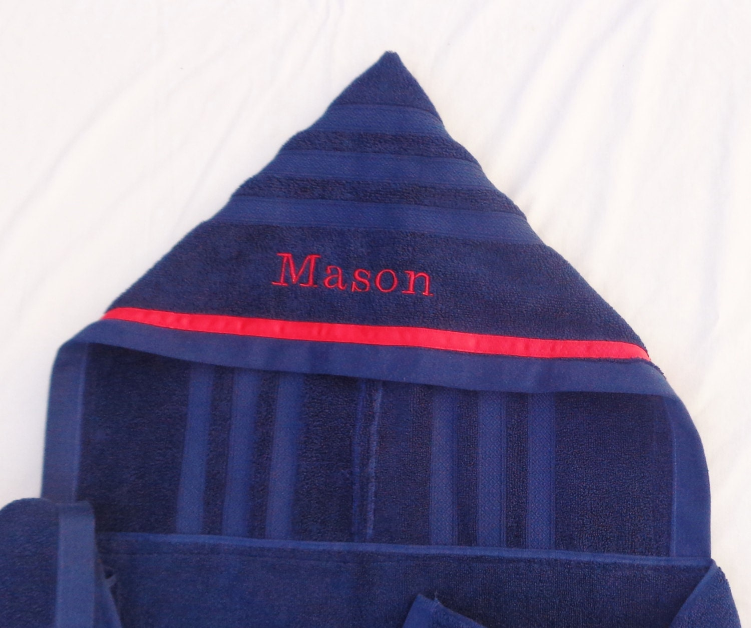Navy Blue Adult Hooded Bath Towel Personalized Adult Hooded