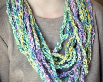 Handmade cowl, multicolor chain cowl with beads