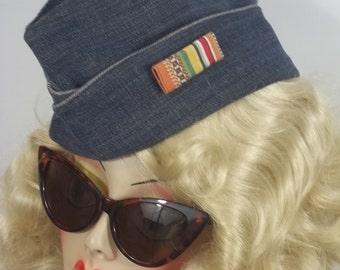 1940s style, garrison cap, denim, side cap, wedge cap, overseas, pilot, flight cap, military, woman, size Sm, Med ,L. Free shipping in USA.