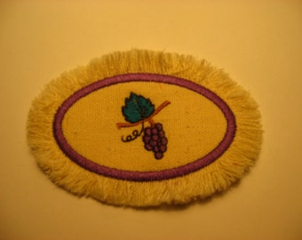 Miniature mini rug for the kitchen in your dollhouse grapes on green linen