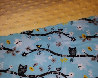 Owls and Minky 4 piece crib bedding set