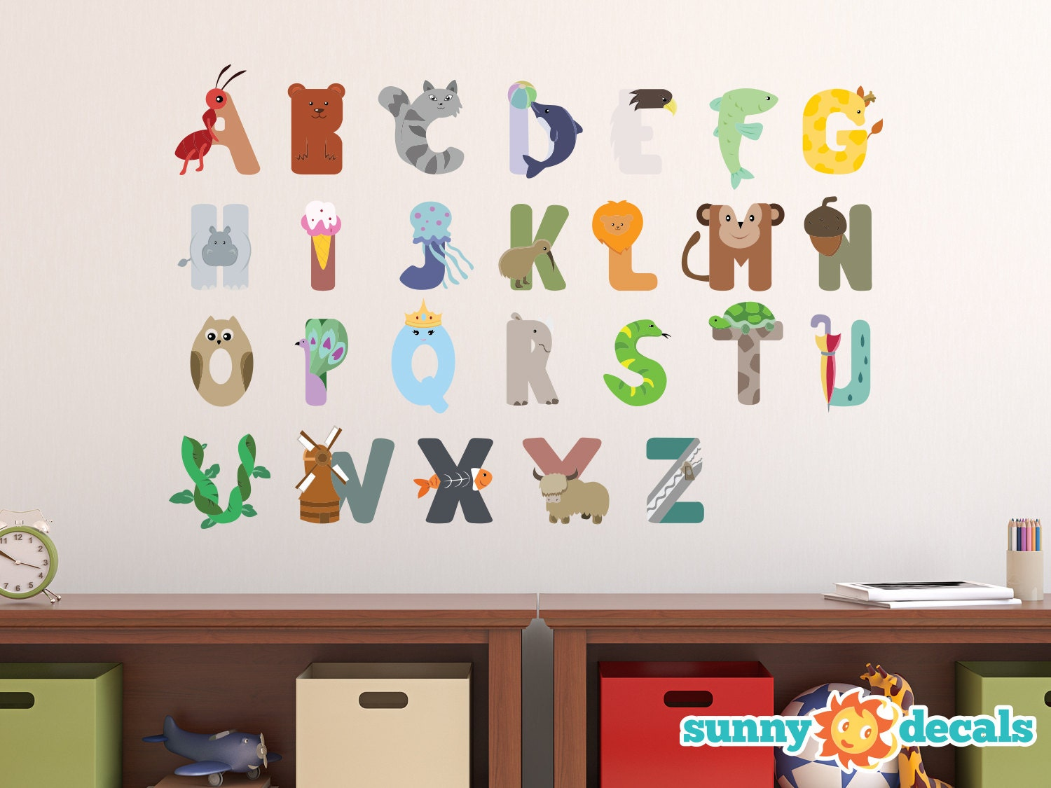 Animal alphabet fabric wall decals repositionable and for Alphabet wall mural