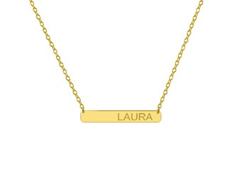 Tiny Engravable 14k Solid Gold Bar Necklace 1 inch Pendant personalize name plate