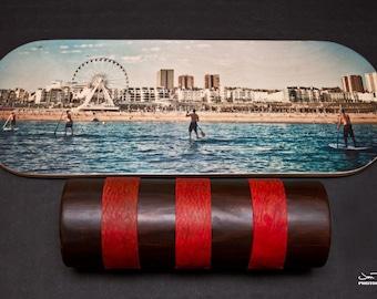 Wooden Balance Board - yoga, skate, snowboard, fitness, sup, longboard trainer - Art Brighton West Pier  screen print