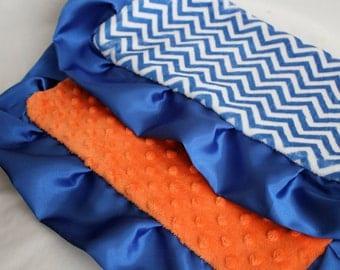 Royal Blue and White Mini Chevron with Orange Minky Dot Blanket, Lovie, Blue Satin Trim, Girls, Boys, Baby, Florida Gators