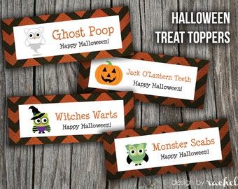 Halloween Owl Treat Bag Topper - Ghost Poop, Witches Warts, Monster Scabs, Jack O'Lantern Teeth (ziploc bag size)