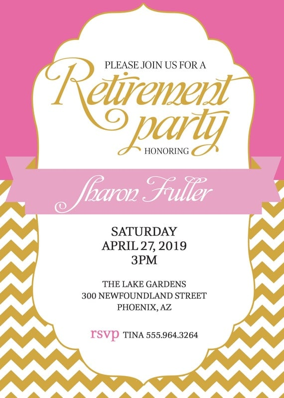RETIREMENT PARTY Invitation Pink and Gold or Pick Color