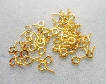 50 screw eye bails - 8mm x 4mm - gold plated - gold plated eye bail - gold screw eye bail