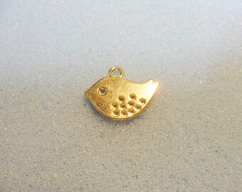10 gold plated bird charms - double sided - 16mm x 12mm - bird charm - gold bird charm
