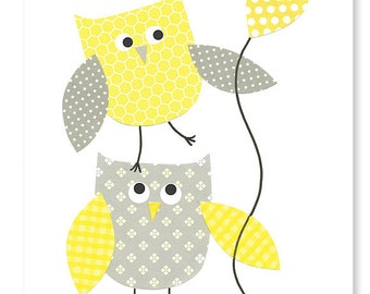Popular items for gray yellow owl on etsy all about loving each