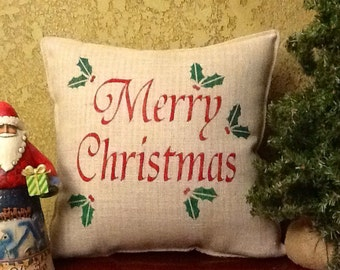 MERRY CHRISTMAS Stenciled Burlap Pillow