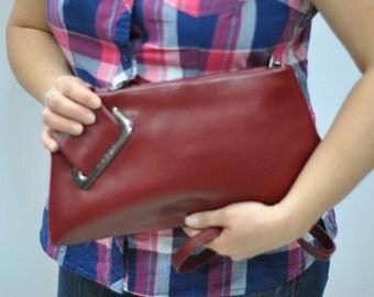Vintage OXONE PARIS leather bag , leather clutch ...(200)