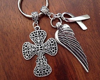 Cancer Awareness Keychain, Christian Keychain, Keychain, Cowgirl Keychain, Silver Cross and Angel Wing Pendant