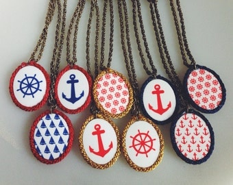 Beautiful nautical cameo style rope edged framed pendent necklaces on twisted rope chain anchor Ships wheel