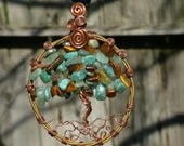 Large Tree of Life Pendant made with Tigers Eye, Adventurine and African Jade beads, and Recycled Copper Wire