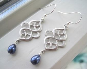 Navy Blue Jewelry - Silver Swirl Earrings - Navy Blue Earrings - Pearl Chandelier Earrings - Oriental Earrings - Something Blue Earrings