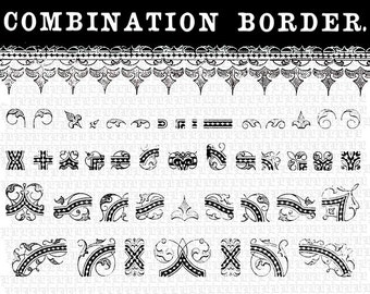 Vector Illustrator EPS Symbols Library Victorian Border Characters DIY Ornamental Frames Antique Vintage Clip Art 10C