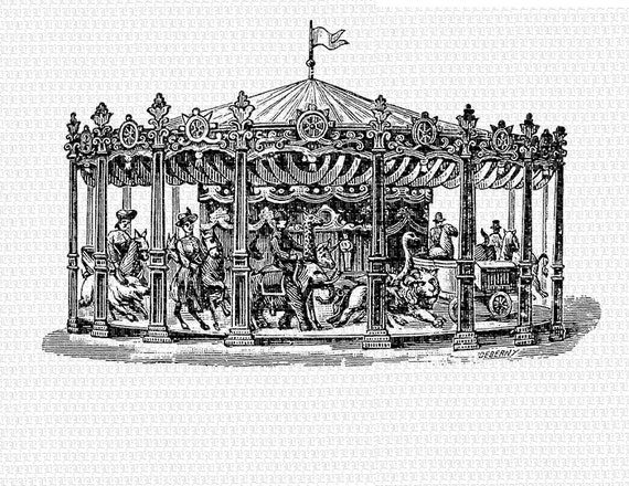 Antique carousel merry go round vintage digital graphic printable high