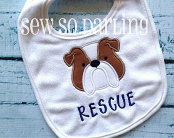Baby Boy Bulldog Bib - Baby Bib - monogrammed bib - personalized baby bib