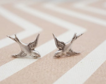 Silver Sparrow Stud Earrings. Flying Swallow Silver post