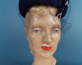 1960's Navy Blue  Pillbox Hat with Netting
