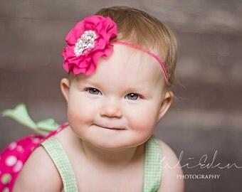 The Hot Pink Ruffled Doll Headband or Clip