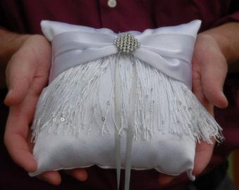 Cowgirl Fringe, White Ring Bearer Pillow