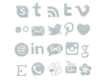 Social Media Icons, Grey Blog Buttons, Watercolor Icons, Paper Icons, Grey Icons