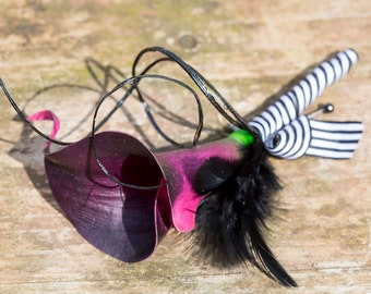 Black/purple real touch calla and feather buttonhole boutonniere