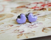 Purple Heart Post Earrings Tiny Ceramic Studs Heartpottery Hypoallergical