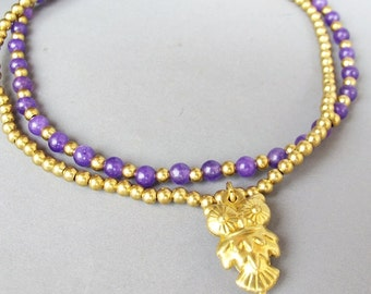 Amethyst  Ankle Bracelet - Double Strands Amethyst Stone Brass Bead added Owl Charm
