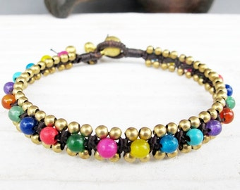 Multi Color Beaded Woven Bracelet with Brass Bead