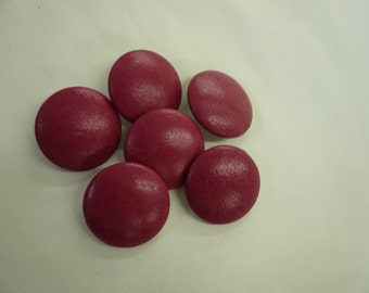 Set of 6 Raspberry Lambskin LEATHER BUTTONS for Garments size:32 mm (1 1/4 inch)