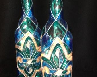 Classic Stained Glass Fleur De Lis Wine Bottle Lamp Turquoise/Blue