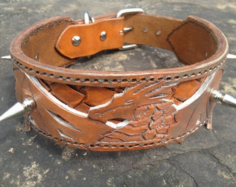 Spiked Ancient Dragon Hand Tooled Leather Dog Collar