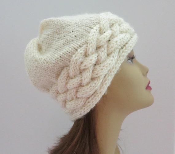 Knitting Patterns Aran Beanie Hats : PDF 164 Knitting Hat Pattern The Odessa Hat Aran Braid PDF